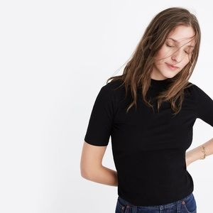 madewell black velvet mock neck top